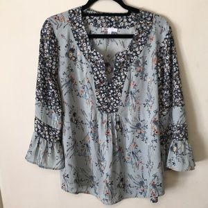 Anthropologie tunic boho blue floral top XL